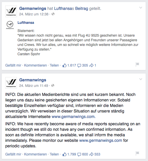 Screenshot Facebook Germanwings