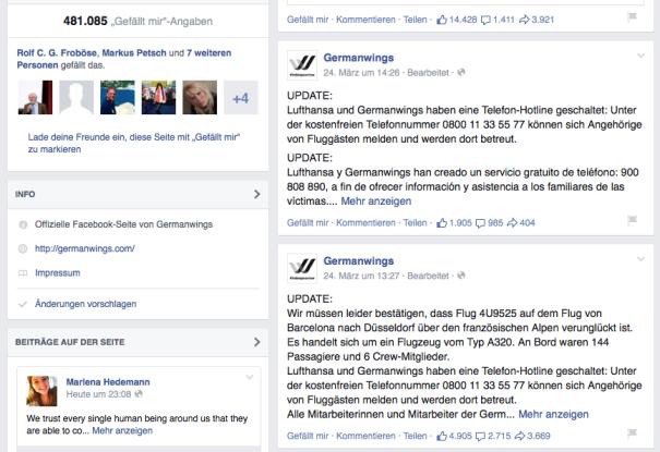 Offizielle Bestätigung von Lufthansa und Germanwings auf Facebook