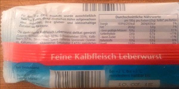 """Zutatenliste der """"Du darfst"""" Kalbfleisch Leberwurst"""