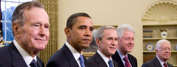 US President GHW Bush_ Obama_GW Bush_Clinton_Carter