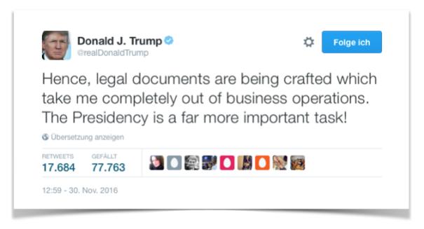 Twittermeldung Donald Trump
