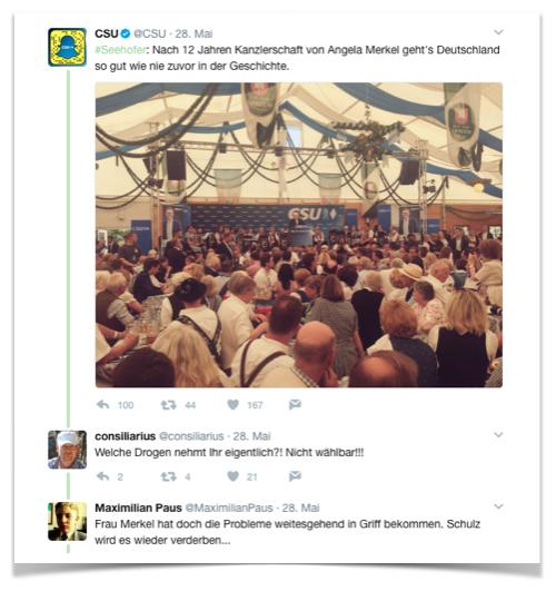 CSU Twitter-Meldung Angela Merkel