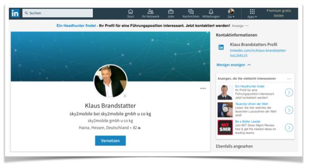 LinkedIn Profil Klaus Brandstätter vom 10.07.2017