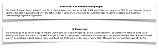 Bilanzbericht der idealo.de vom Axel Springer Konzern