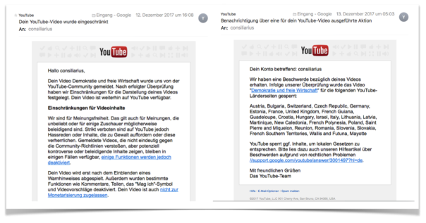 Erste YouTube Meldung