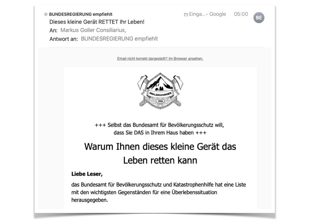 Mail der Waldhammer GmbH vom 13.07.2019